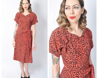 Vintage 1940's Tomato Red and Black Printed Dress/ 40's Printed Rayon Day Dress Size Small