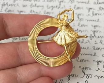 Ballerina Brooch, Ballet Gifts, Ballerina Pin Brooch, Vintage Pin, Gold Brooch Pin, Ballerina Gift, Gifts For Ballet Dancer, Gold Ballerinas