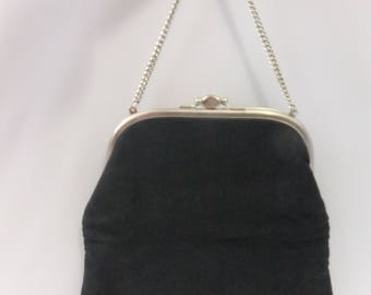 Vintage Purse Evening Bag Black Fabric Silver Tone Hardware Double Compartment Short Chain Handle Kiss Lock Clasp Cloth
