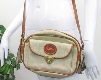 Vintage 1980s Dooney & Bourke Bag Cross Body Bag Brown Cream Leather Purse Tassel Small Pebbled Leather Bag Duck Logo Designer Purse