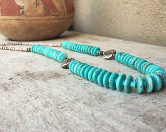 Vintage rondelle bead turquoise necklace Southwestern jewelry