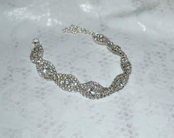 Crystal bracelet, bridal crystal bracelet, wedding jewelry, bridesmaids bracelet, prom bracelet, braided bracelet, sparkle bracelet