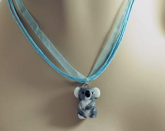 porcelain hand crafted koala figurine charm or pendant w free organza necklace Anita Reay ceramic koala bear totem art