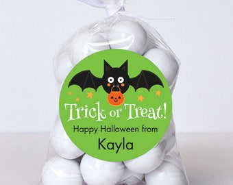 Halloween Stickers - Trick or Treat Bat (Green) - Sheet of 12 or 24