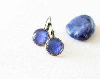 SALE -50% OFF. Lapis Lazuli Earrings. Blue Stud Earrings. Glass Dome Earrings. Lapis Post Earrings.