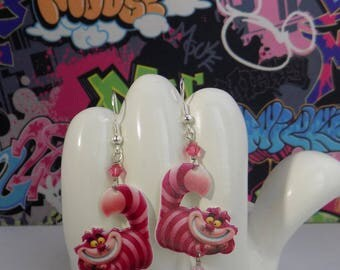 Alice in Wonderland Cheshire Cat Dangle Earrings