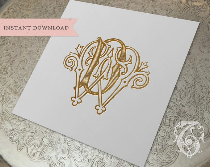 Vintage Wedding Monogram WD DW Digital Download W D