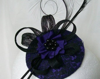 Black & Dark Purple Lace Isadora Curl Feathers and Pearls - Gothic Fascinator Mini Hat - Made To Order