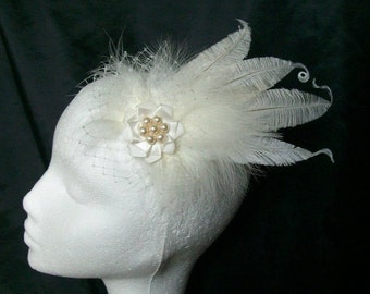 Ivory Ostrich Feather & Veil Vintage Style Hair Clip Bridal Fascinator Headpiece - Made to Order