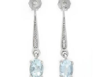 Lovely Delicate Sterling Silver Aquamarine and Diamond Accent Earrings.