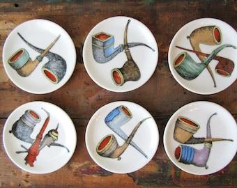 Vintage Pipe Plates Set of 6 Tobacciana, SALE