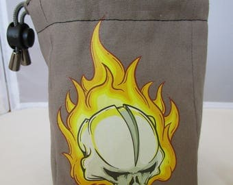 Handmade Burning Skull Drawstring Dice Bag-,Table top gamer, RPG, Dungeon and Dragons, Scrabble, Role Playing, Drawstring bag, Pouch,