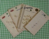 4 Cards Vintage Tiny Baby or Doll Clothes Buttons, Mother of Pearl and Plastic Collectible, Craft or Sewing Supply
