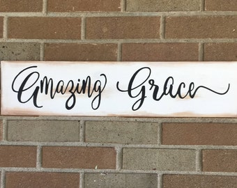 """Amazing Grace Wood Sign,Farmhouse Look Distressed Wood Sign,Inspirational Sign,White and Black,Farmhouse Decor,Fixer Upper Decor,6""""x24"""""""