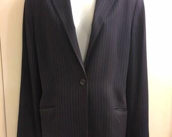 Vintage Valerie Stevens Women's Charcoal Pin Stripe 80's Style Blazer/Jacket