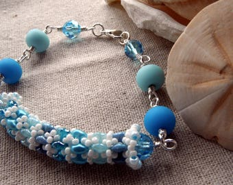 Lampwork and Crystal Wire Bracelet with Daydreamer rope accent - Caribbean Blue