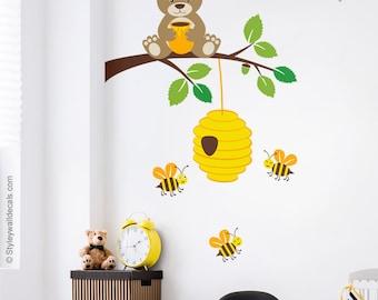Bear Wall Decal, Bear Wall Sticker, Bees Wall Decal, Bear and Branch Wall Decal, Bees and Hive Wall Decal, Kids Baby Room Nursery Decor