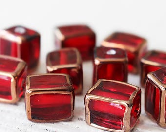 Handmade Glass Beads - Czech Lampwork Beads - Czech Glass Beads - Jewelry Making Supply - 12x9mm Rectangle Beads - Red - Choose Amount