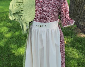 Simple Pioneer Dress with Half Apron and Bonnet Size 7/8 Ready to Ship