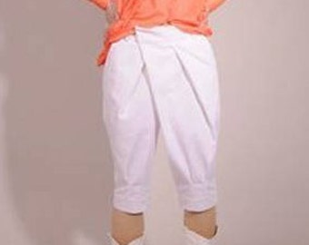 white cotton irregular pants shorts