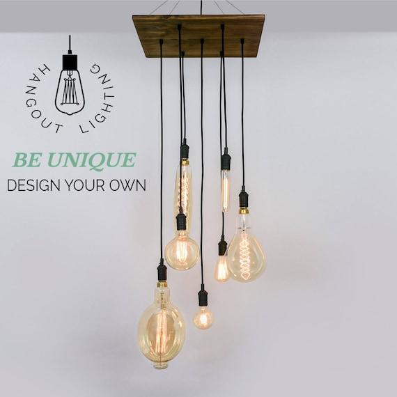 Custom 7 pendant wood chandelier x large edison bulbs like this item aloadofball Choice Image