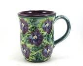 Unique ceramic coffee mug  - porcelain coffee cup with purple interior and flower design