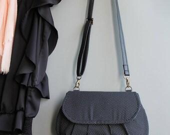 Clutch bag evening bag magnetic closure - black & white polka dots