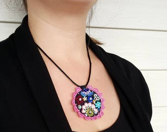 Free Shipping Crochet Circle Necklace, Modern Felt Necklace, Unique Design Necklace, Free Form Necklace, Under 25, Pink
