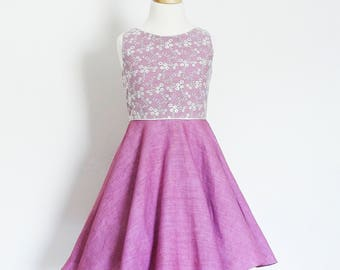 Flower Girl Dress  - Violet Linen & Ivory Eden Lace - Circle Skirt - Vintage Style - Fifties - Made By Dig For Victory!