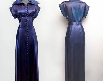 Vintage 30s Dress Blue Lilac Ombre Sumptuous Satin Belted Back