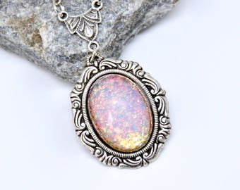Pink Fire Opal Necklace, Antique Silver Cameo Necklace, Pink Necklace, Harlequin Art Glass Necklace, Cameo Necklace, Victorian Necklace Gift