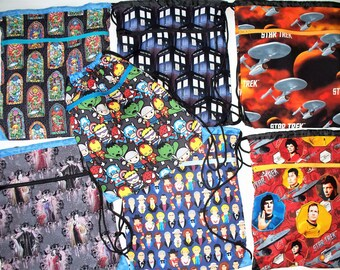 Fabric Covered,Nylon Lined,Drawstring Backpack,Your Choice: Disney Villanesses,Legend of Zelda,Star Trek, Dr. Who Tardis,Marvel Chibis,RTS