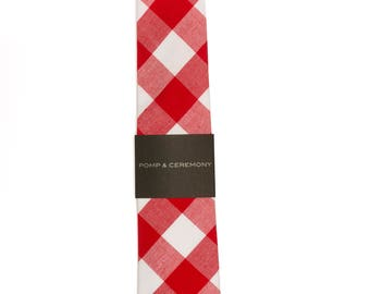 Large checked cotton Gingham neck tie red and white