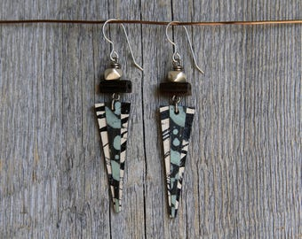 RUSTIC ICE / Wood Earrings / Women's Jewelry / Gifts For Her / Sustainable / Earrings / Acrylic Painting / Art / Art Jewelry