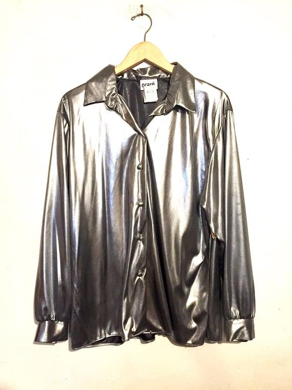 90s Shiny Button Up Shirt