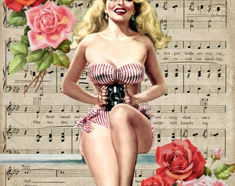 Pin Striped Photo Gal - Vintage Romance Pin Up on Sheet Music Collaged Background - PU215 - Digital Download