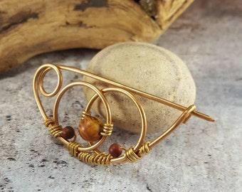Shawl Pin, Vesica Piscis Symbol, Knitting Gift, Bronze Sweater Pin. Mom Gift, Scarf Pin. Jasper or Lapis Lazuli Brooch, Knitter gift