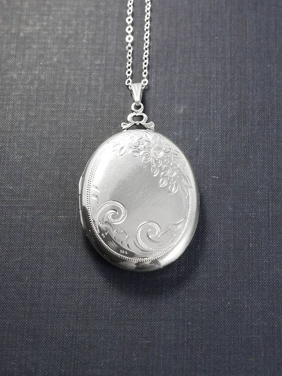 Extra Large Sterling Silver Oval Locket Necklace, Floral Photo Pendant - Beautiful Love
