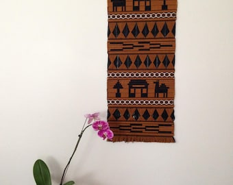 Vintage Wall Hanging / Brown Black Coloring / Handmade One Of A Kind Mid Design