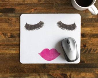 Lashes and Lips Mousepad  | gift, Bossbabe, R+F, friend, salon, office, desk