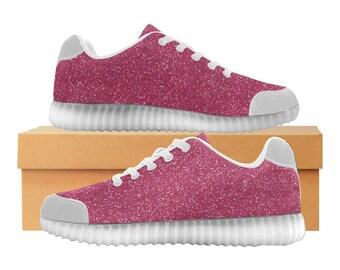 Magenta Pink Glitter LED Light Up Shoes | Kids & Womens Sizes | High Stretch Upper | EVA Mesh Fabric Insole | 7 Colors | Street Art Design