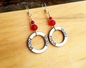 Focus Hoop Earrings, Red Focus Hoop Sterling Silver Dangle Earrings, Red Hoop Focus Silver Earrings, Focus Earrings