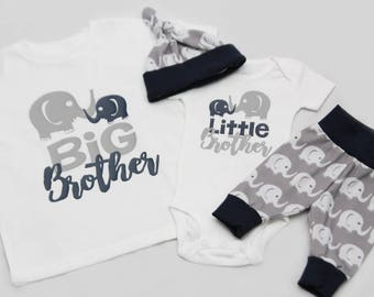 Big Brother Little Brother Elephants, Newborn Coming Home Outfit, coming home outfit-Jersey knit Leggings, Knot Hat, and Bodysuit