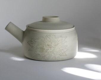 Japanese peonies tattoo teapot - stoneware teapot