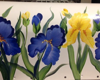 Personalized Hand Painted Mailbox Irises , UV Resistant Weather resistant mediums, Large medium standard decorative post mount mailbox