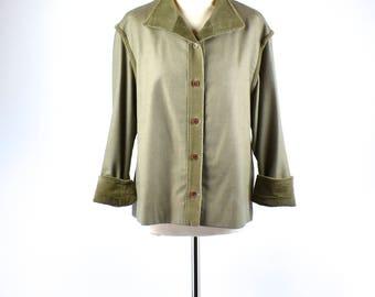 1950's Olive Gabardine Jacket with Corduroy by Garé, Gabardine Ricky Jacket