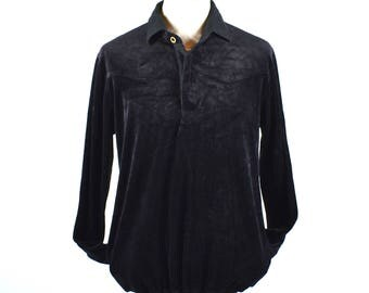 Black Velour Shirt with Pockets by EMS, Size Large
