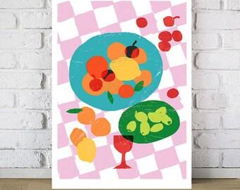 "Kitchen poster print Summer Picnic  20""x27"" - archival fine art giclée print"