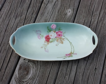 Bavarian Fine China Relish Serving Tray, Celery Dish, Hand Painted Rose Design