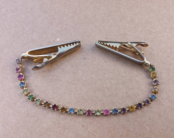 1950s Multi Color Rhinestones Sweater Collar Clip , Pastel Color Rhinestones Vintage Sweater Clip
